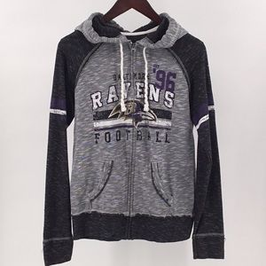 Majestic Baltimore Ravens Zip Up Hoodie Distressed